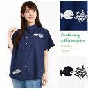 無地×ユーモラスな魚のワンポイント刺繍入りコットンブラウス/綿100% 襟付き 前ボタン 半袖f13-2