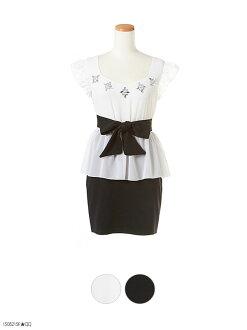 腰間絲帶短袖肩褶邊電話停靠的豪華比茹與迷你連衣裙