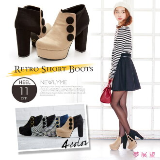 Three Botan retro boots retro boots button trend chic pun beautiful cute thick heel thickness bottom walkable winter cushion insole fasteners Miss like girly because beige zigzag pattern Black Womens shoes retro short boots dream vision • 10 / 9 ships pl