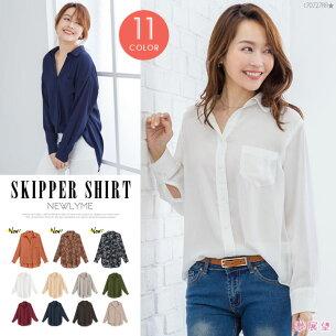 トップス ジョーゼットスキッパーシャツ シンプル シフォン トレンド ホワイト