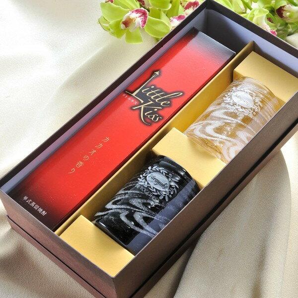 名入れ専門名入れプレゼント酒国産琉球硝子シェルクリアグラスペアセット&リトルキス米焼酎