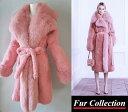 肉厚フォックス&シェアードラパン毛皮 ピンク リアルファーコート レディース 毛皮コート