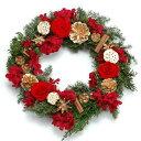ショッピングクリスマスリース ミッレフィオーリ クリスマスリース[PRESERVED] レッド