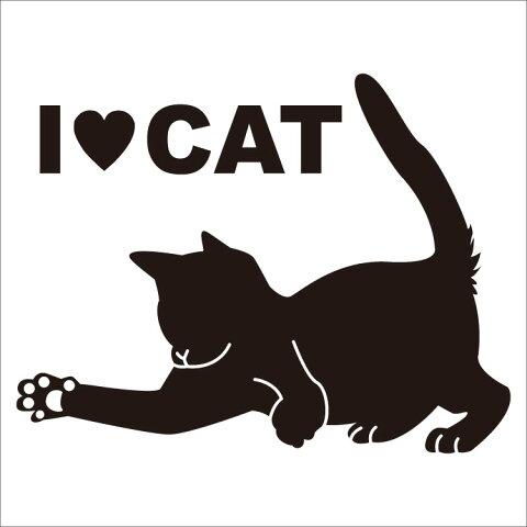 猫シルエットステッカー プレイ ブラック / シルエット 家具 車用ステッカー カッティングシート ネコ用品 ペット用品 ねこグッズ 猫ステッカー / 誕生日 ギフト プレゼント