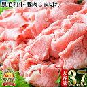 【ふるさと納税】限定!計3.7kg!日本一の和牛!最高級の鹿児島黒毛和牛と安心安全九州産豚肉のコマ切...
