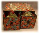 【送料無料】越前和紙手貼り引き出し箱(巾着入りあられ・4袋入り):4種セレクト×20セット越... ...