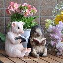 かわいい 読書アニマル2種 セット 豚・ハリネズミ  ガーデニング ガーデン 雑貨 オーナメント おしゃれ 置物   ギフト対応 あす楽