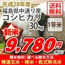 【お得なクーポン配布中!】【玄米】【送料無料】平成28年産 福島中通り産 コシヒカリ[1等米]30kg選べる精米方法