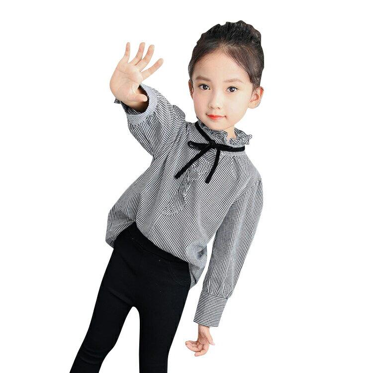 【送料無料】 子供服 女の子 スタンドカラー シャツ 長袖 フリル リボン付き 快適 綿 定番のホワイト かわいい レトロ  kids000100100116