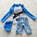 長袖水着 男の子セパレート水着 3点セット トップス+パンツ+キャプ バックにファスナー付き着る簡単 超人気 夏 海 水泳 スイミング スイムウェア 子供 S M L XL 2XL