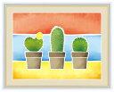 【F6】ちょっと気になる植物たち絵額 サボテンの鉢植え 春田あかり アート インテリア 安らぎ 潤い 壁掛け [送料無料]
