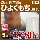 熊本県 ヒヨクモチ(28年産 もち米) 5kg あす楽 送料無料 お餅、おこわ、おはぎに!粘り強い、西日本(九州産)の餅米です。一升餅のお餅にも。単一米のこがね...