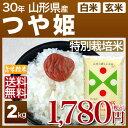 山形県産 つや姫 特別栽培米 2kg 送料無料 29年産の(玄米)又は(白米/精米) 食べ比べサイズのお米