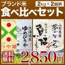 ブランド米 食べ比べセット 2kg×2種(米 計4kg)送料無料 (北海道 ゆめぴりか/山形県 つや...