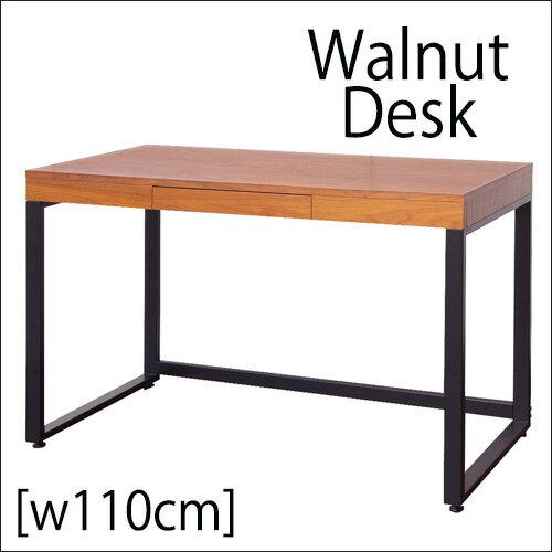 ●11月下旬入荷分になります。天然木 ウォールナット デスク 単品【 W110 cm】 送料無料 パソコンデスク ワークデスク 机 110cm幅 Walnut Desk