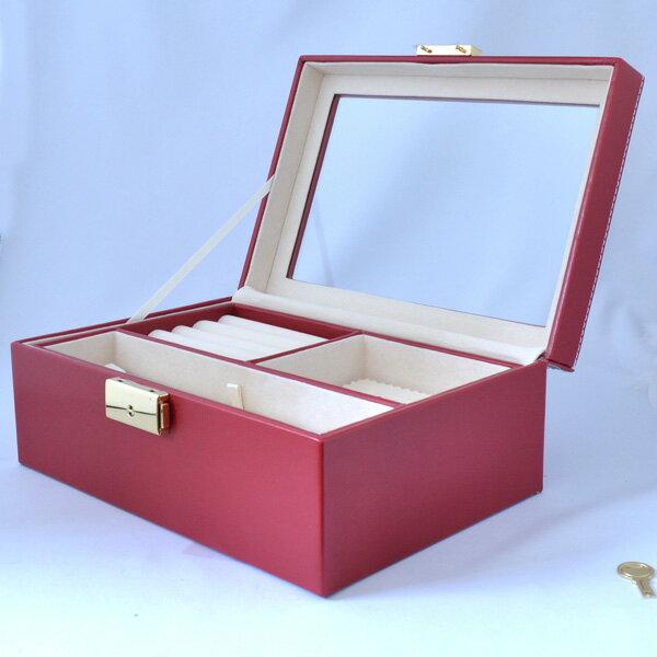 真っ赤でシンプル 高級 大容量 ジュエリーボックス 宝石箱 ジュエリーケース 宝石箱 鍵付き 彼女 誕生日 プレゼント ジュエリー アクセサリー
