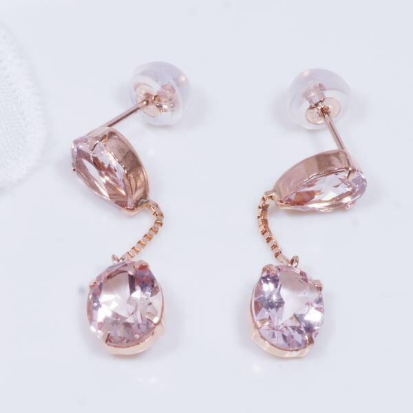 特別奉仕品 18金ピンクゴールド モルガナイトデザインピアス ツインオーバル 計3CT ●ピンクアクアマリンとも呼ばれるレアーな宝石「モルガナイト」を使ったちょっと贅沢なピアス。