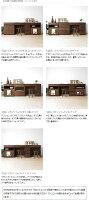幅210cmウォールナット材ウォールナット無垢材木製机書斎机パソコンデスク開き戸とマガジンラックと引き出しを組み合わせたユニットデスクWONDER-DK210-A(※チェア別売)