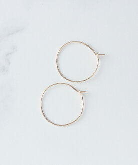 Hoop earrings gold Round hammer girl (Size:S)