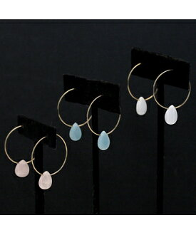 10%OFF ☆ Domani10 month issue publication ★ JUICYROCK original ★ hoop pierced earrings gold Hoop with Tear Drop Color Stone