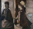 【送料無料】絵画 油彩画複製油絵複製画/エドガー・ドガ 鏡の前のジャントー婦人 F8サイズ F8号 455x380mm すぐに飾れる豪華額縁付きキャンバス