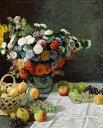 【送料無料】絵画 油彩画複製油絵複製画/クロード・モネ 花と果物のある静物 F30サイズ 1066x883mm 【条件付き送料無料  額縁付 キャンバス】