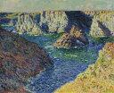 油絵 油彩画 絵画 複製画 クロード・モネ ベル・イル島の岩 F10サイズ F10号 530x455mm すぐに飾れる豪華額縁付きキャンバス