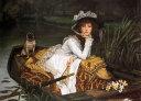 【送料無料】絵画 油彩画複製油絵複製画/ジェームズ・ティソ ボートの若い女性 F30サイズ 1066x883mm 【すぐに飾れる豪華額縁付 キャンバス】