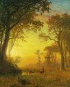油絵 油彩画 絵画 複製画 アルバート・ビアスタット 森林の中の光 F10サイズ F10号 530x