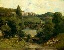 油絵 油彩画 絵画 複製画 ギュスターヴ・クールベ オルナンの眺め F10サイズ F10号 530x455mm すぐに飾れる豪華額縁付きキャンバス