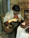 油絵 油彩画 絵画 複製画 アウグスト・マッケ 縫い物をしているエリザベート・ゲルハルト F10サイズ F10号 530x455mm すぐに飾れる豪華額縁付きキャンバス