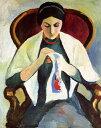 油絵 アウグスト・マッケ アームチェアで刺繍をする夫人 F12サイズ F12号 606x500mm 油彩画 絵画 複製画 選べる額縁 選べるサイズ