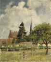 油絵 油彩画 絵画 複製画 カミーユ・ピサロ エラニーの教会 F10サイズ F10号 530x455mm すぐに飾れる豪華額縁付きキャンバス