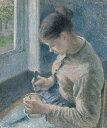 カミーユ・ピサロ カフェラテを飲む若い農婦 F30サイズ F30号 910x727mm 条件付き送料無料  額縁付絵画 インテリア 額入り 壁掛け 油絵 カミーユ・ピサロ