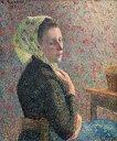 油絵 油彩画 絵画 複製画 カミーユ・ピサロ 緑のネッカチーフをした女 F10サイズ F10号 530x455mm すぐに飾れる豪華額縁付きキャンバス