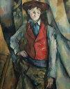 絵画 インテリア 額入り 壁掛け 油絵 ポール・セザンヌ 赤いチョッキの少年 F15サイズ F15号 652x530mm 油彩画 複製画 選べる額縁 選べるサイズ