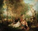 油絵 アントワーヌ・ヴァトー 愛の宴 F12サイズ F12号 606x500mm 油彩画 絵画 複製画 選べる額縁 選べるサイズ