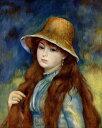 【送料無料】絵画 油彩画複製油絵複製画/ピエール=オーギュスト・ルノワール 麦わら帽子をかぶる農家の少女 F8サイズ F8号 455x380mm すぐに飾れる豪華額縁付きキャンバス