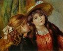 油絵 油彩画 絵画 複製画 ピエール=オーギュスト・ルノワール 二人の少女 F10サイズ F10号 530x455mm すぐに飾れる豪華額縁付きキャンバス