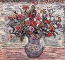 【送料無料】絵画 油彩画複製油絵複製画/ モーリス・プレンダーガスト 花瓶の花 F8サイズ F8号 455x380mm すぐに飾れる豪華額縁付きキャンバス