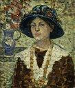 油絵 モーリス・プレンダーガスト 花と女性の肖像 F12サイズ F12号 606x500mm 油彩画 絵画 複製画 選べる額縁 選べるサイズ
