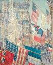 【送料無料】絵画 油彩画 油絵 複製画/ フレデリック・チャイルド・ハッサム 1917年5月、同盟国の日 F12サイズ 762x656mm 【すぐに飾れる豪華額縁付 キャンバス】