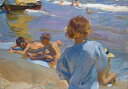 油絵 油彩画 絵画 複製画 ホアキン・ソローリャ バレンシアの浜辺の子供たち P10サイズ P10号 530x410mm すぐに飾れる豪華額縁付きキャンバス