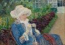 油絵 油彩画 絵画 複製画 メアリー・カサット マルリーの庭でかぎ針編みをするリディア P10サイズ P10号 530x410mm すぐに飾れる豪華額縁付きキャンバス