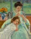 絵画 インテリア 額入り 壁掛け複製油絵 メアリー・カサット 縫い物をする若い母親 F15サイズ F15号 652x530mm 油彩画 複製画 選べる額縁 選べるサイズ