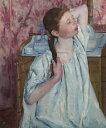 油絵 油彩画 絵画 複製画 メアリー・カサット 髪をそろえる少女 F10サイズ F10号 530x455mm すぐに飾れる豪華額縁付きキャンバス