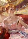 【送料無料】絵画 油彩画複製油絵複製画/ メアリー・カサット 劇場の特別席で真珠のネックレスをした女性 P8サイズ P8号 455x333mm すぐに飾れる豪華額縁付きキャンバス