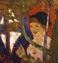 油絵 エミール・ベルナール 赤い傘とブレトン女性 F12サイズ F12号 606x500mm 油彩画 絵画