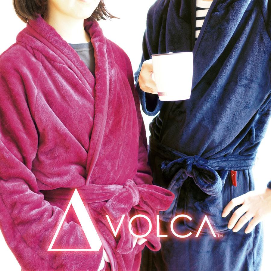 ガウン VOLCA ヴォルカ フランネル レディース メンズ ルームウェア バスローブ 上着 暖かい 柔らかい ネイビー ベージュ ワイン 洗える 送料無料
