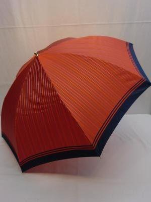 雨傘・折畳傘-婦人 甲州産先染朱子織格子生地使用2段日本製折畳雨傘 傘 雨具 梅雨対策 ゲリラ豪雨